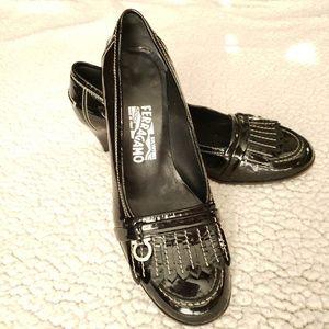 Salvatore Ferragamo Black Patent Leather Pumps 9 B